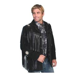 Men's Scully Leather Handlaced Bead Trim Coat 758 Long Black Boar Suede