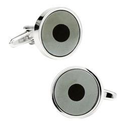 Men's Ox & Bull Trading Co. Bullseye Cufflinks Silver/Hematite/Onyx
