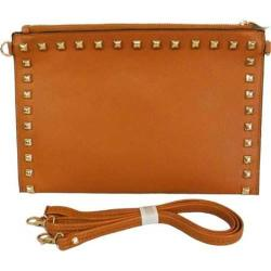 Women's Blingalicious Leatherette Clutch with Studs Q2028 Camel