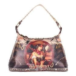 Women's Nicole Lee Cowgirl Wheel Print Hobo Bag Cowgirl Wheel Brown