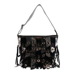Women's Nicole Lee Danielle Fringe Tote Bag Black