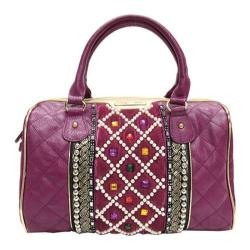 Women's Nicole Lee Megan Check Patterned Quilted Boston Bag Plum