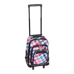 Everest Wheeled Pattern Backpack Red/Blue Diamond