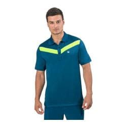 Men's Fila Suit Up Chevron Polo Majolica Blue/Safety Yellow/White