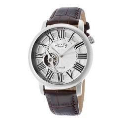 Men's Rotary ROTARY-GLE000018-21 Brown Genuine Leather/Silver