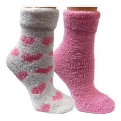 Women's VH Apparel Lavender Infused Chenille Fluffy Socks (2 Pairs) Pink Hearts/Solid Purple