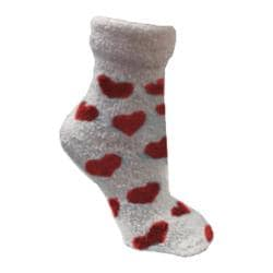 Women's VH Apparel Lavender Infused Chenille Fluffy Socks (2 Pairs) Poppy Red Hearts/Solid Poppy Red