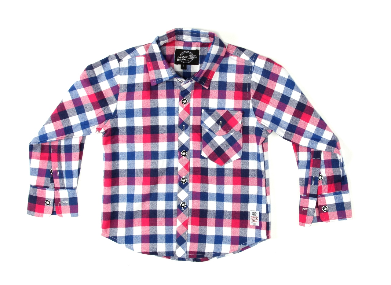 Something Strong Boys Long Sleeve Flannel Shirt in Red