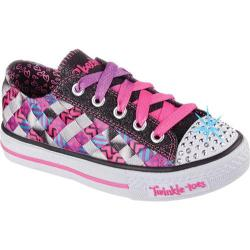 Girls' Skechers Twinkle Toes Shuffles Jumpstarts Black/Hot Pink