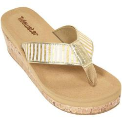 Women's Tidewater Sandals Onslow Gold Wedge Gold/White