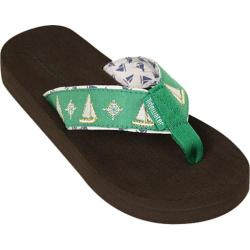 Women's Tidewater Sandals Sailboats Green/White
