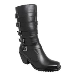 Women's Ride Tecs 8549 13in 5-Buckle Biker Boot Black Leather