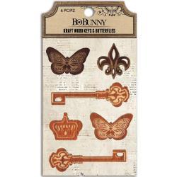 Kraft Laser-Cut Wood Embellishments - Keys & Butterflies