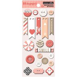 You Are My Happy Decorative Buttons & Chipboard 22 Pieces -