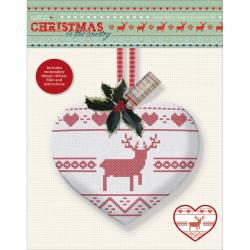 Papermania Christmas In The Country Stamped Cross Stitch Kit - Heart With Stag