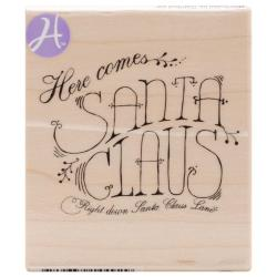Mounted Rubber Stamp 2.5 X3 - Here Comes Santa Claus