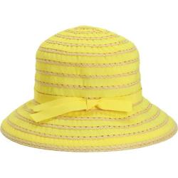 Children's San Diego Hat Company Ribbon And Paper Straw Bucket Hat RBK3080 Yellow