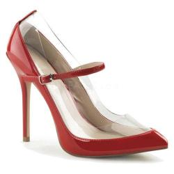 Women's Pleaser Amuse 21 Mary Jane Red/Clear