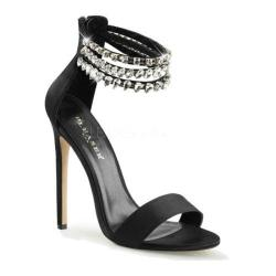 Women's Pleaser Sexy 18 Ankle Strap Black Satin