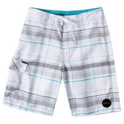 Boys' O'Neill Santa Cruz Plaid Boardshorts White