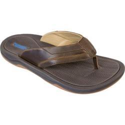 Men's Rugged Shark Flowryda Thong Sandal Dark Brown Synthetic Leather