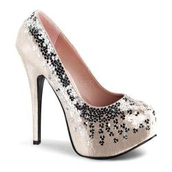 Women's Bordello Teeze 06G High Heel Blush Sequined Metallic Fabric