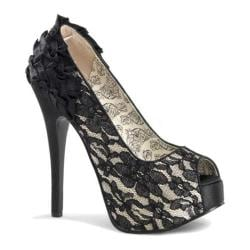 Women's Bordello Teeze 19 Champagne Satin/Black Lace