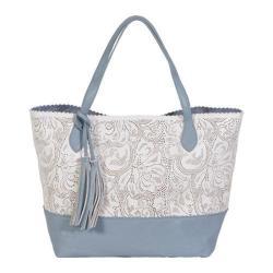 Women's BUCO Handbags East/West Bi-Color Paisley Tote KE-20806 White/Periwinkle