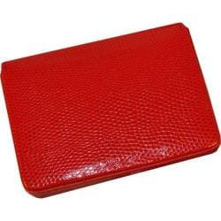 Women's Budd Leather Lizard Printed Calf Business Card Case - Oversized Red
