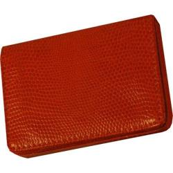 Women's Budd Leather Lizard Printed Calf Business Card Case - Oversized Tangerine