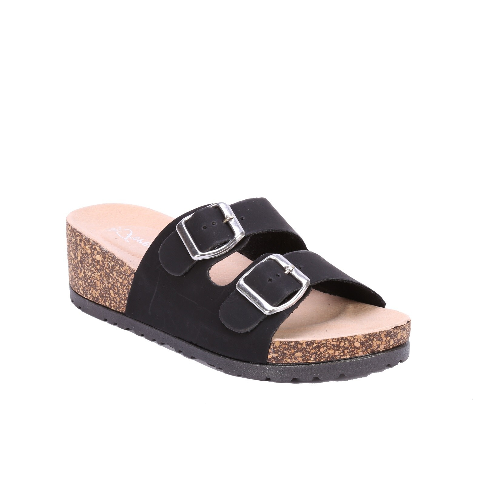 Coshare Forever Women's Melrose-88 Leather PU Buckle Embellished Birkenstock-style Low Top Wedge Sandals