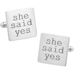 Men's Cufflinks Inc Wedding Series She Said Yes Cufflinks Silver