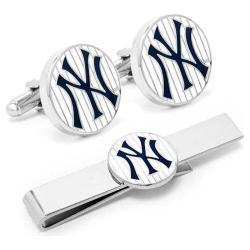 Men's Cufflinks Inc Yankees Pinstripe Cufflink and Tie Bar Gift Set Blue/White