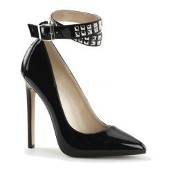 Women's Pleaser Sexy 24 Ankle Strap Black Patent