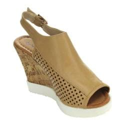Women's Wild Diva Happa-04 Cork Wedge Sandal Taupe Faux Leather