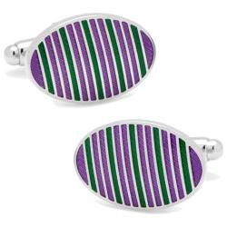Men's Cufflinks Inc Oval Repp Stripe Cufflinks Purple