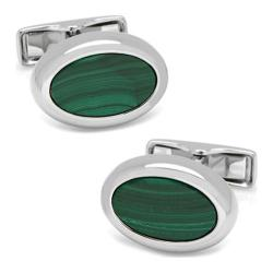 Men's Cufflinks Inc Silver Malachite Oval Cufflinks Green
