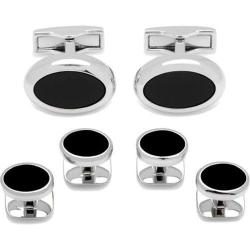 Men's Cufflinks Inc Silver Oval Stud Set Black