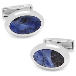 Men's Cufflinks Inc Silver Sodalite Oval Cufflinks Blue