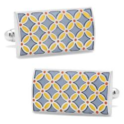 Men's Cufflinks Inc Smokey Floral Rectangle Cufflinks Blue