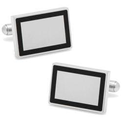 Men's Cufflinks Inc Stainless Steel Rectangle Engravable Framed Cuffli Silver