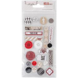 Hello My Name Is Decorative Buttons & Chipboard -