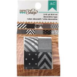 DIY Shop Washi Tape 10yd Roll 2/Pkg - Black/White - Pattern Repeats Every 6