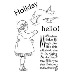 Pink Persimmon Clear Stamp 4 X6 Sheet - Holiday Hello