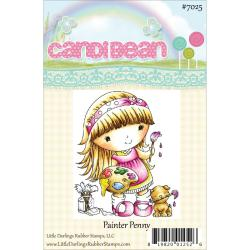 Candibean Unmounted Rubber Stamp 3.25 X2.712 - Painter Penny