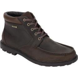 Men's Rockport Rugged Bucks Waterproof Moc Toe Boot Dark Tan Full Grain Leather