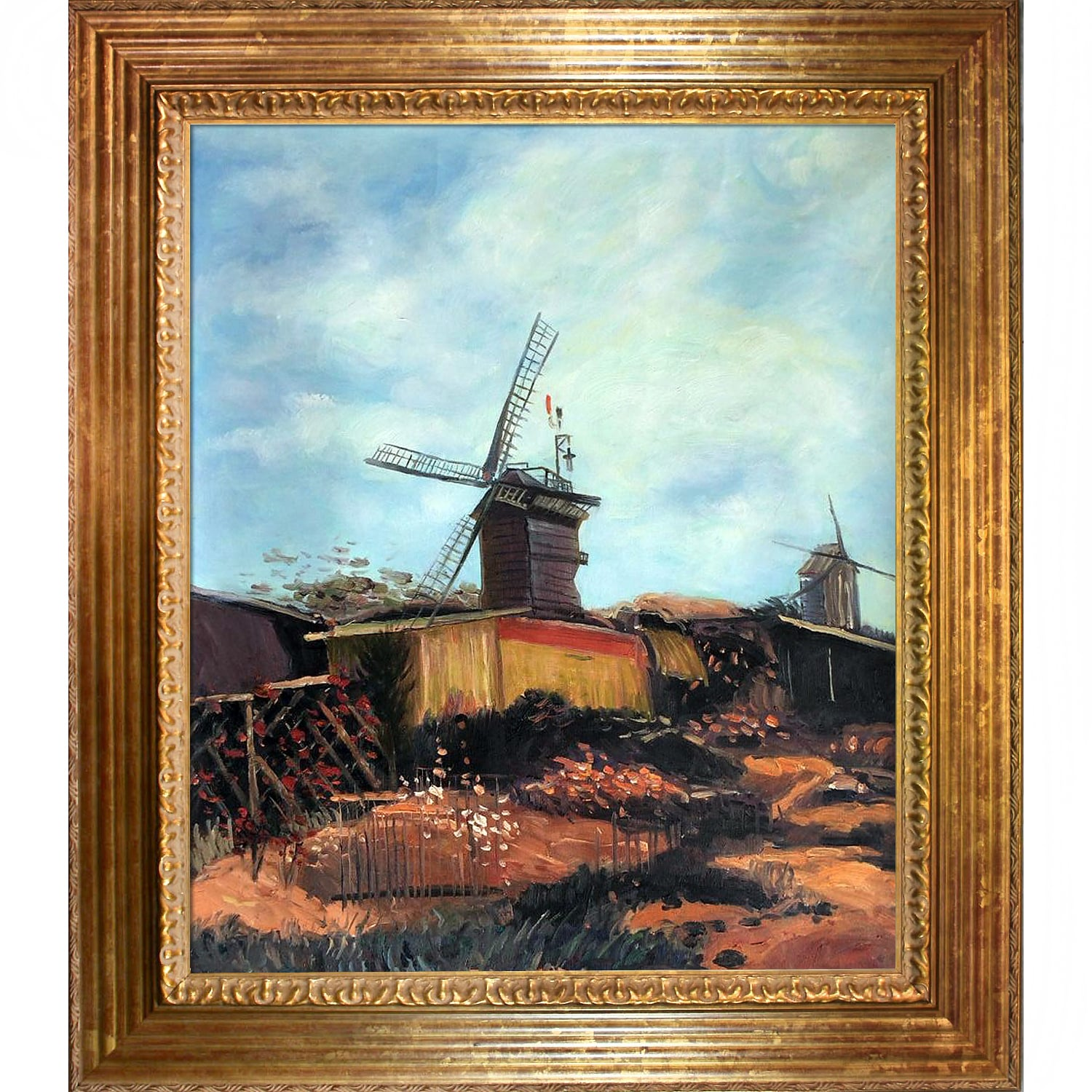 Vincent Van Gogh 'The Mill of Blute End' Hand Painted Framed Canvas Art