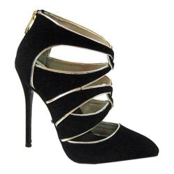 Women's Highest Heel Fierce-41 Stiletto Black Microsuede/Metallic PU