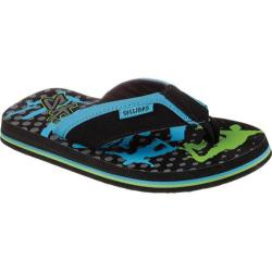 Boys' Skechers Scurried Riffs Thong Sandal Black/Blue