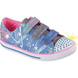 Girls' Skechers Twinkle Toes Chit Chat Skipping Stars Light Up Sho Blue/Neon-Pink